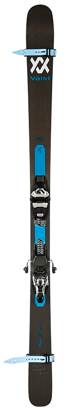 front view of skis with ski straps